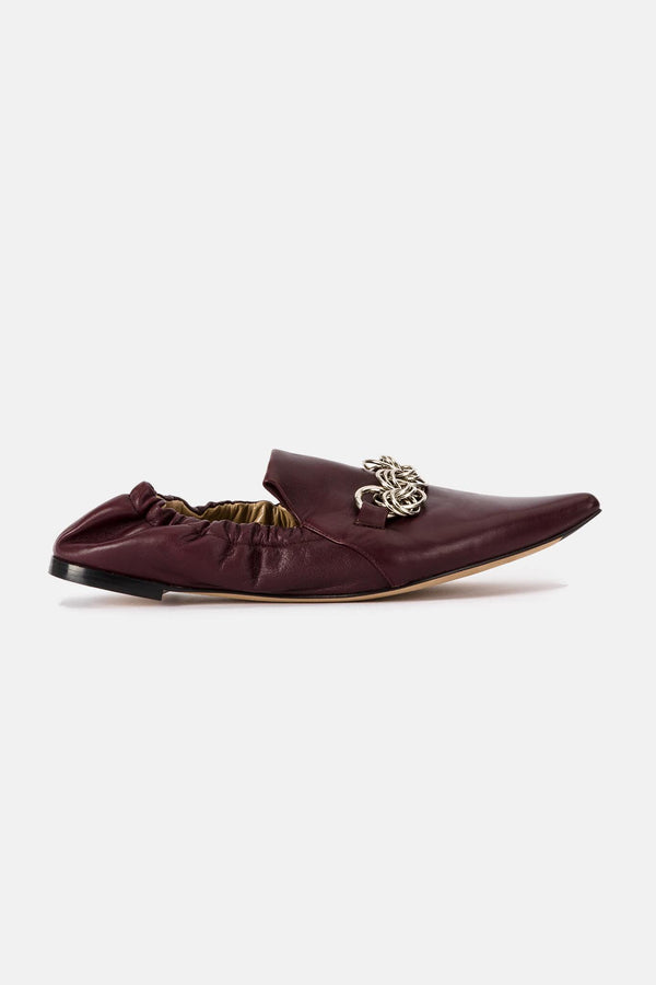 Ballerines en cuir bordeaux