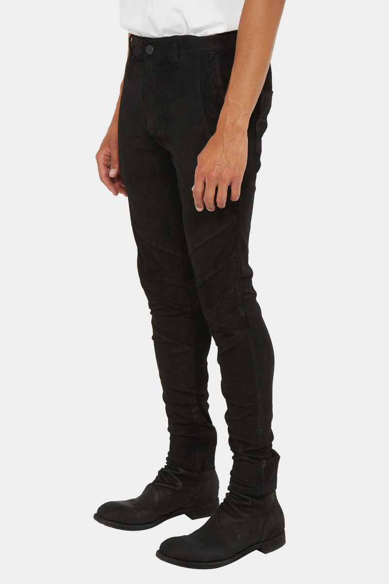 Pantalon slim en cuir grainé stretch noir Frei Mut