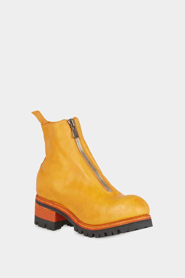 Bottines en cuir orange à semelle crantée Guidi