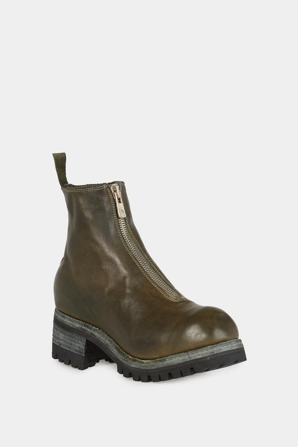Bottines en cuir lisse de cheval kaki Guidi