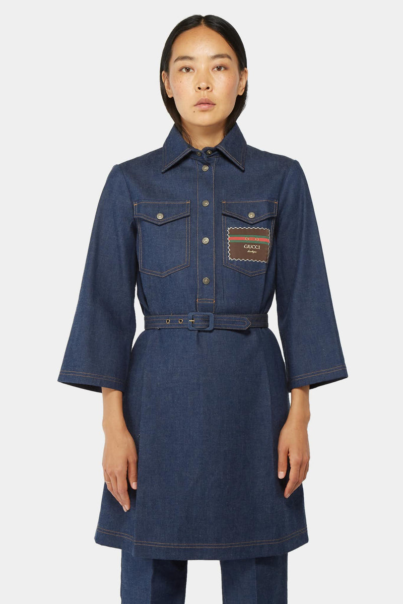 Robe-tunique en denim bleu marine Gucci