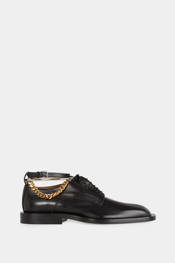 Derbies en cuir noir à triple bride Jil Sander
