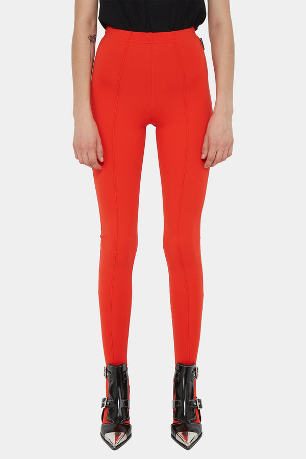 Legging stretch en viscose et polyamide rouge Balenciaga