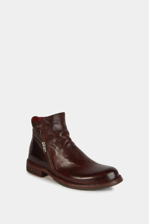 Officine Creative Bottines zippées en cuir bordeaux Officine Creative