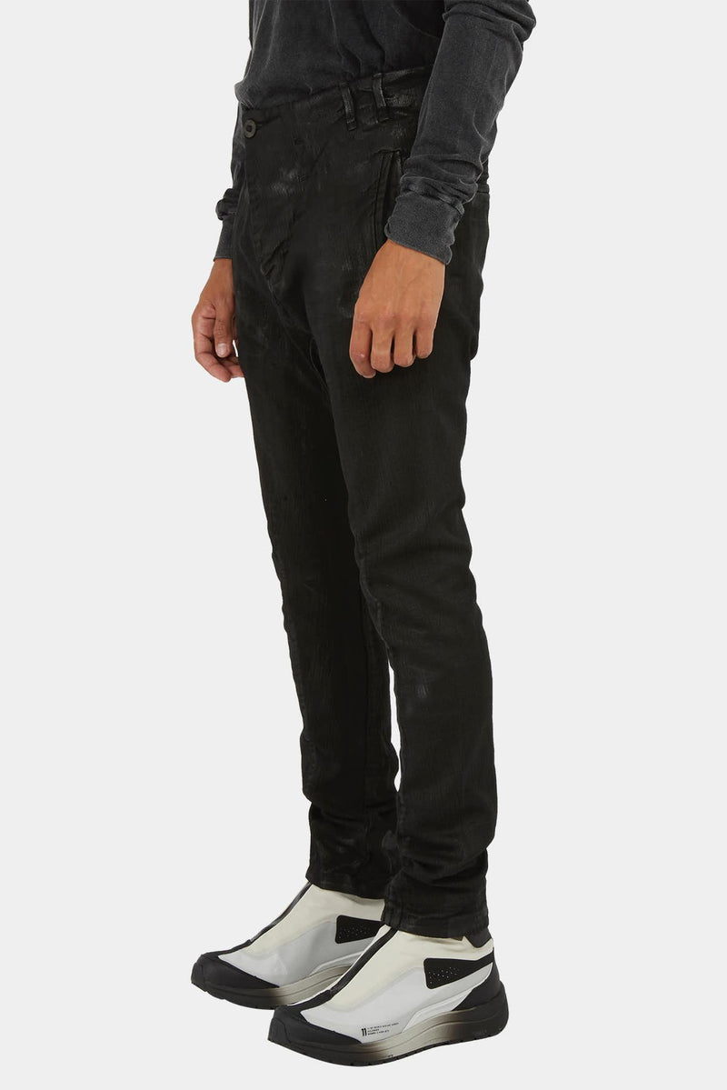 Pantalon asymétrique en denim noir 11 by Boris Bidjan Saberi
