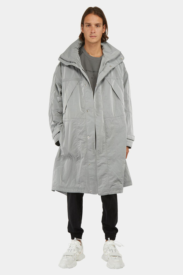 Manteau technique en nylon argenté Juun.J