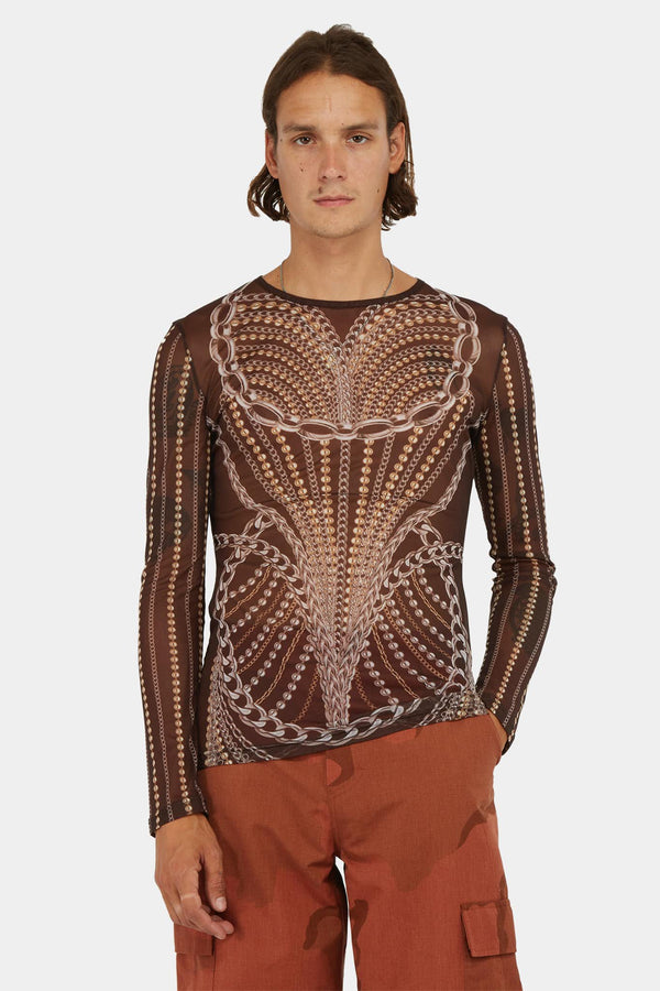 T-shirt en tulle semi-transparent marron  Y/Project
