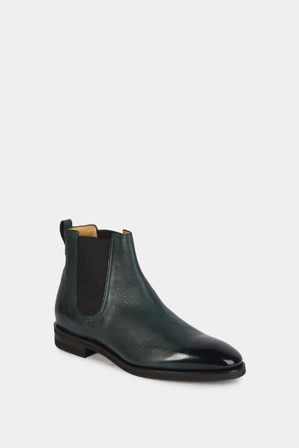 Bally Bottines Chelsea en cuir grainé vert Bally