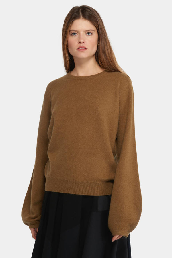 "Pull en cachemire brun ""Mini R-Neck"" Frenckenberger"
