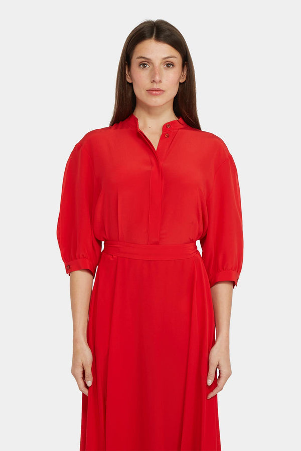 Stella McCartney Robe en soie rouge