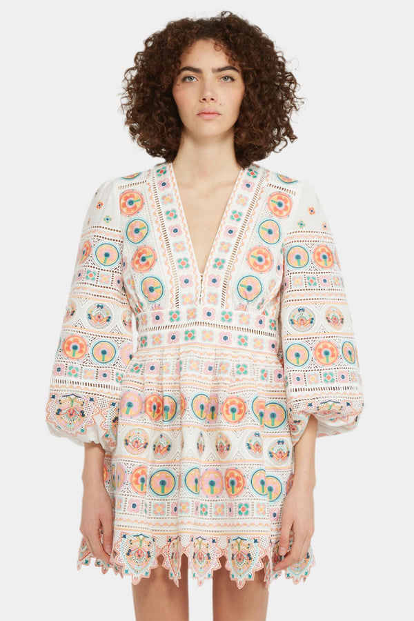 Zimmermann Robe à broderies multicolores Zimmermann