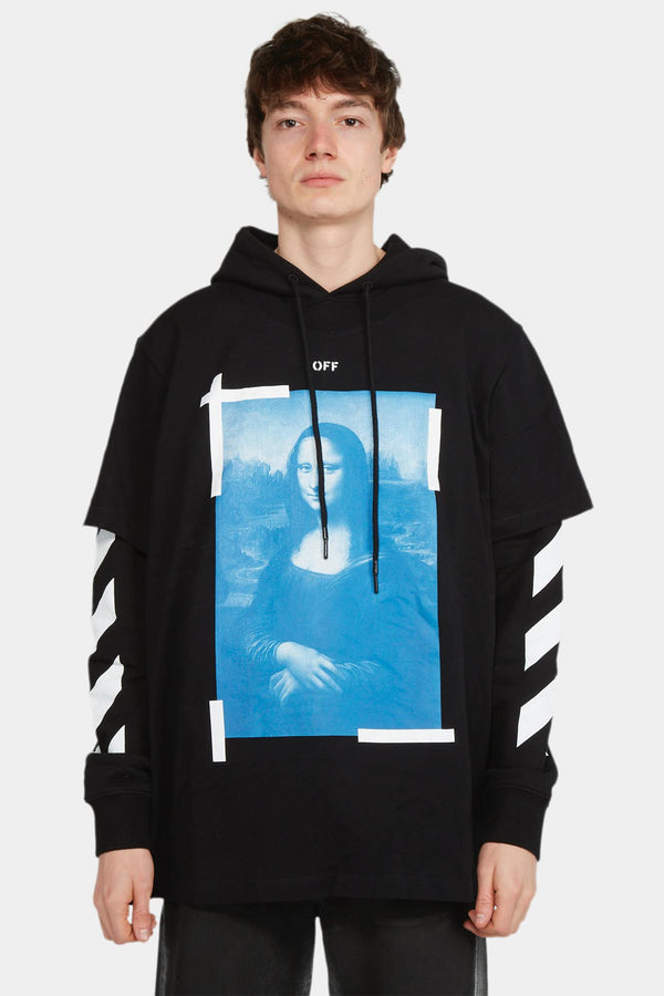 Off-White Hoodie noir à effet superposé Off-White