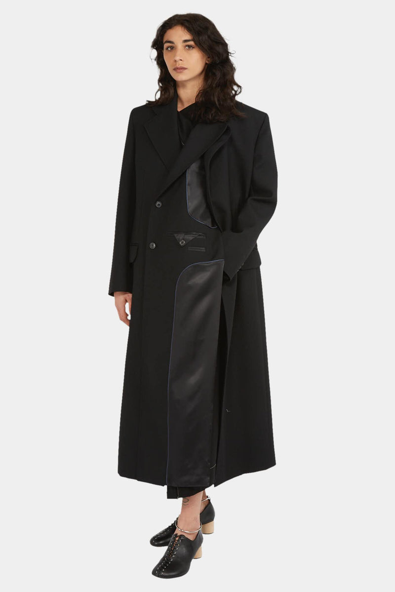 Y/Project Manteau long en laine noire Y/Project
