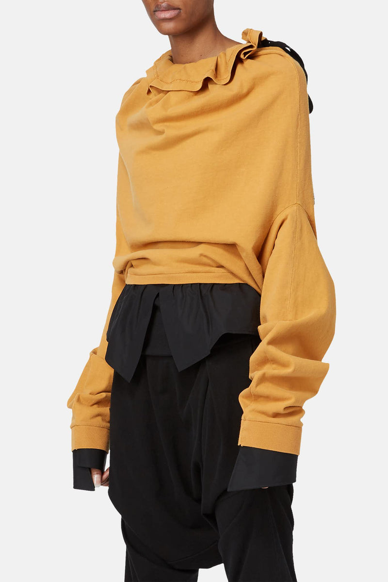 Sweat en coton jaune moutarde Aganovich