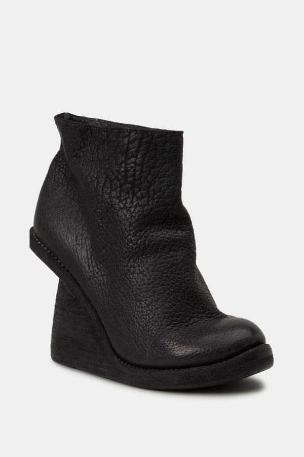 Guidi Black leather wedge boots