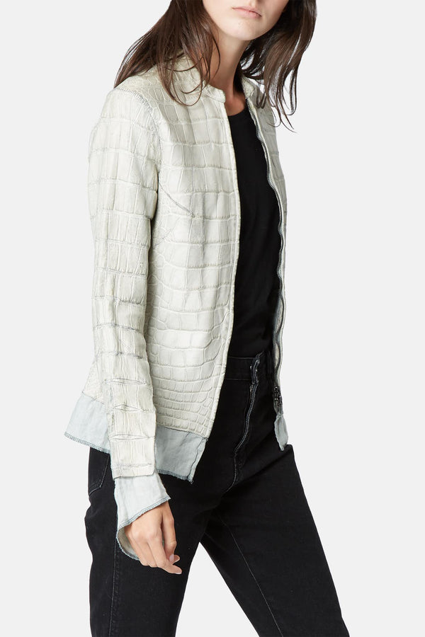 Veste en alligator beige Affamee