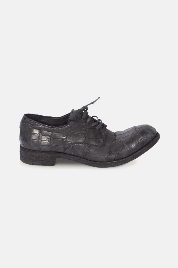 Derbies en cuir de crocodile noires