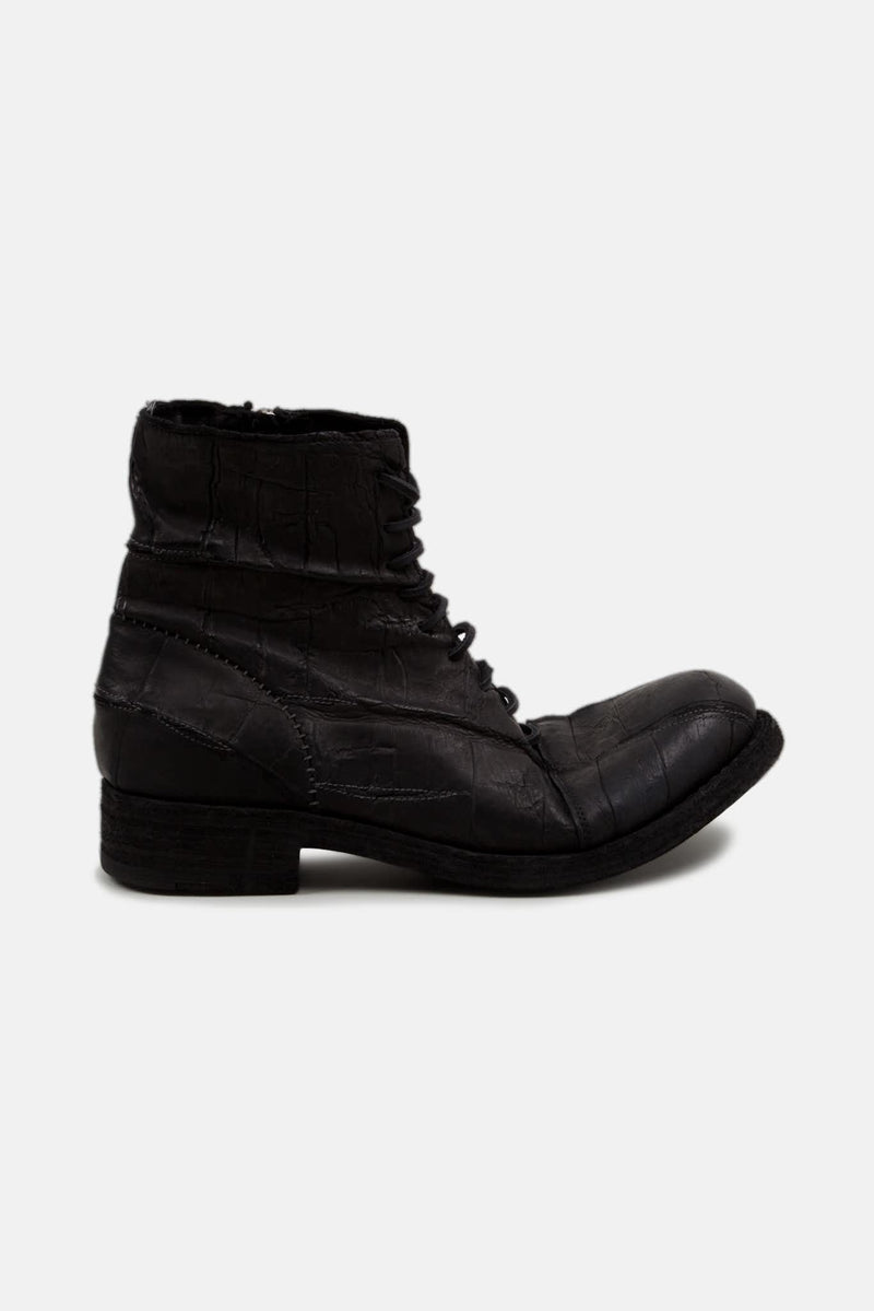 Bottines en cuir de crocodile noires