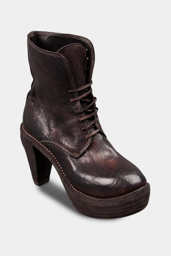 Guidi Bottines lacées à talon en cuir