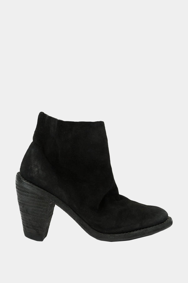 Guidi Bottines à talon en daim noires