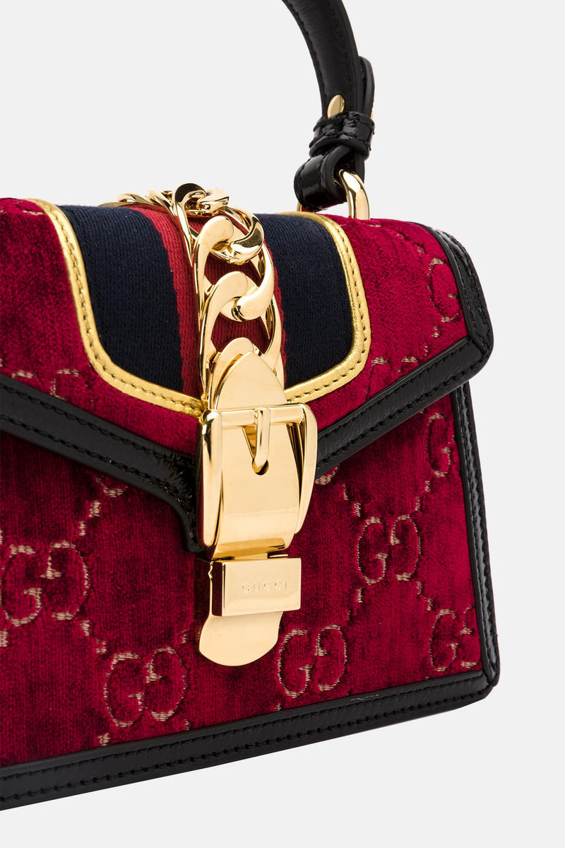 Mini sac en velours bordeaux Sylvie Gucci