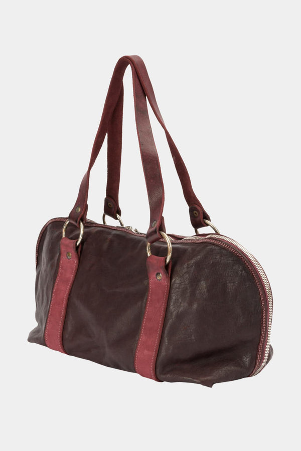 Guidi Bag worn shoulder in burgundy leather