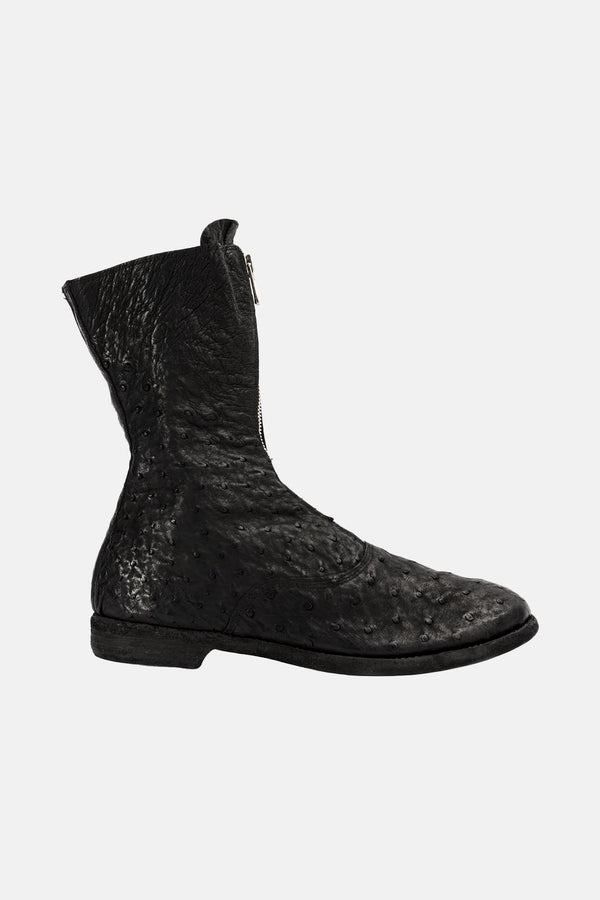 Bottines en cuir d'autruche noires Guidi
