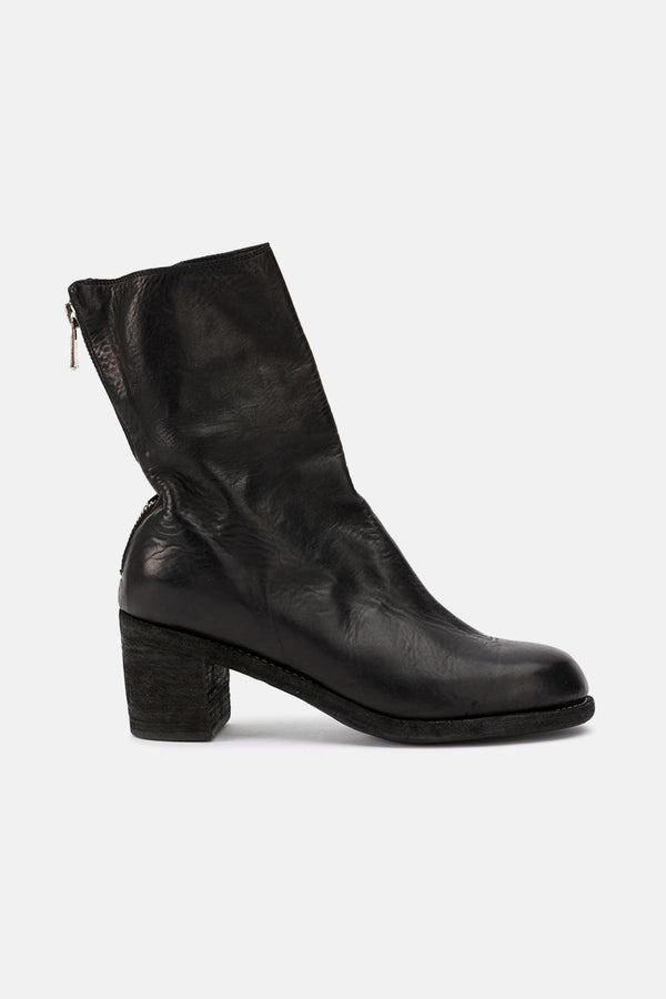 Bottines à talons en cuir noires Guidi