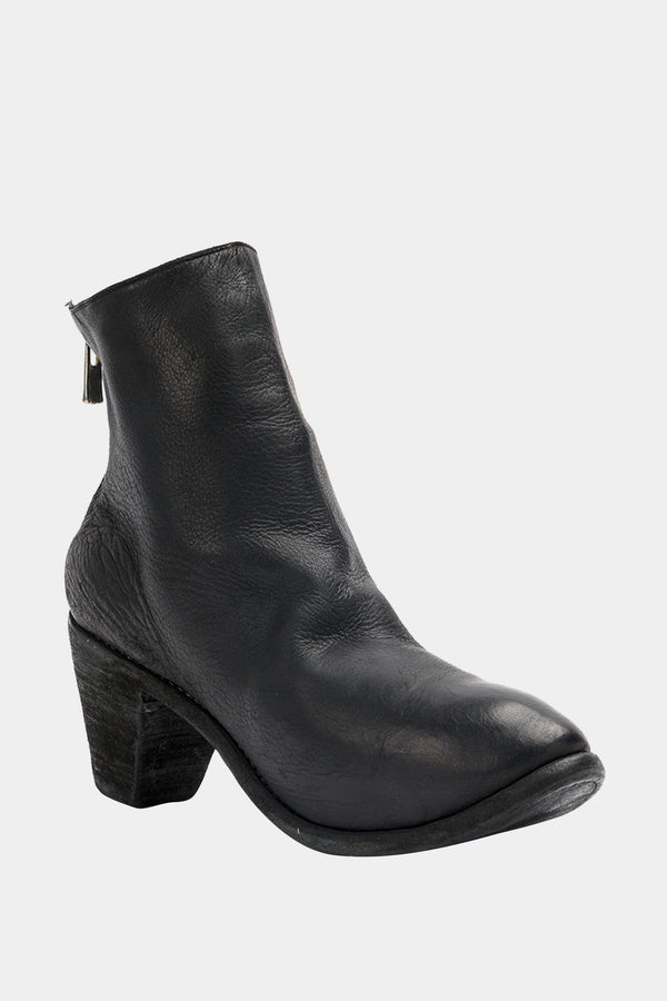 Guidi Black Leather Heeled Ankle Boots