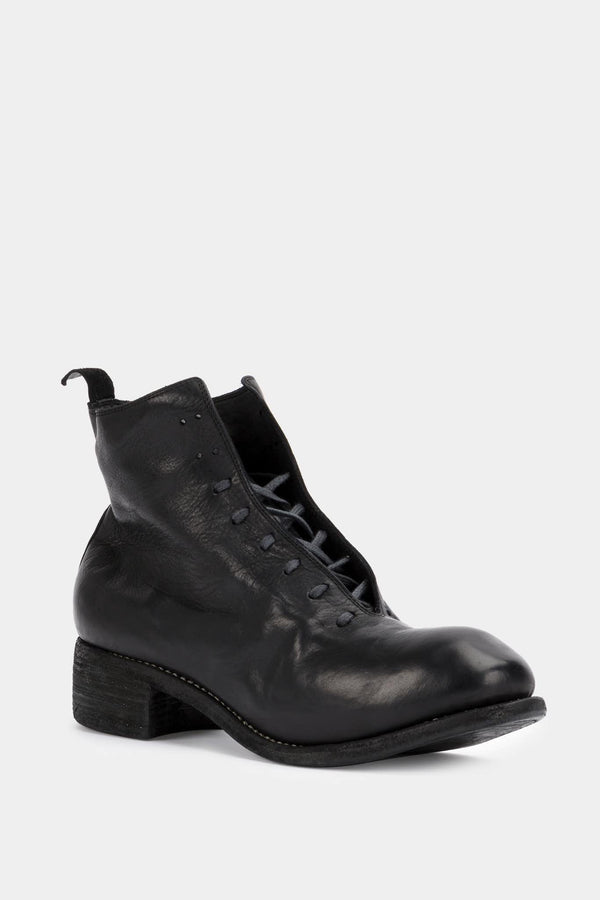 Guidi Bottines lacées en cuir noires