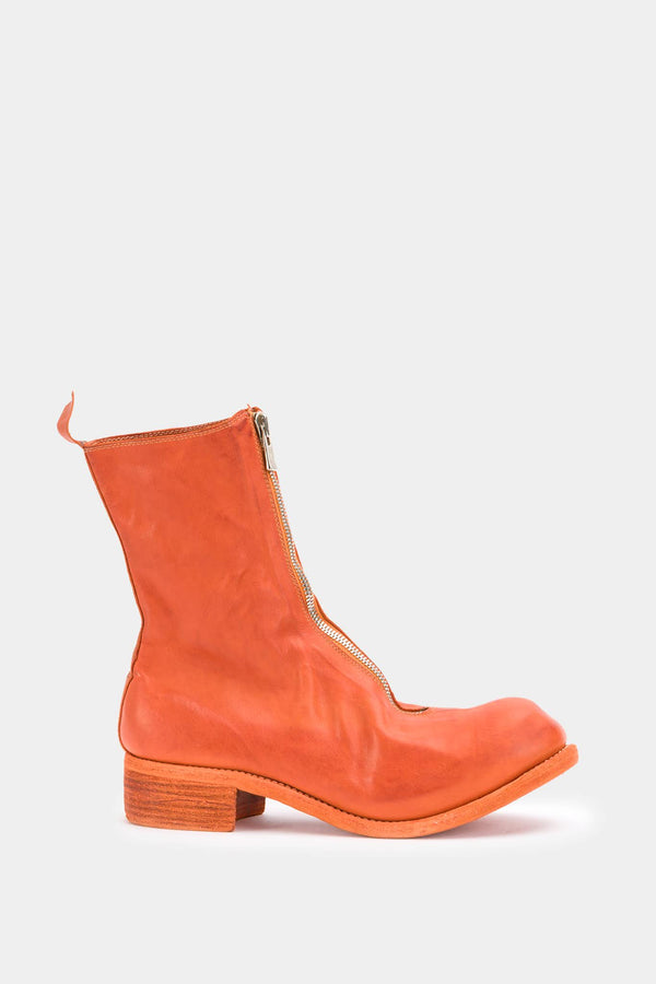 Guidi Bottines à zip avant en cuir orange