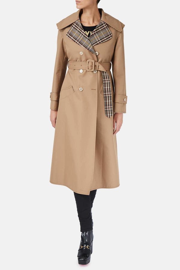Trench brodé beige
