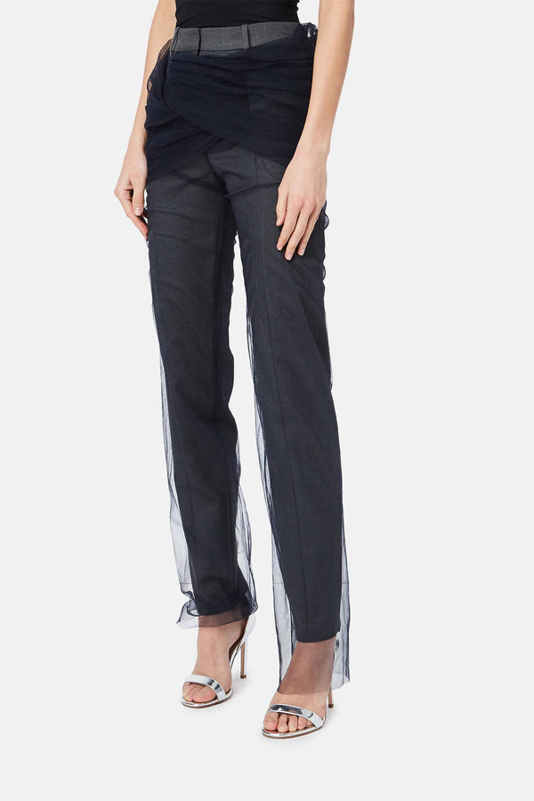 Pantalon à empiècements gris