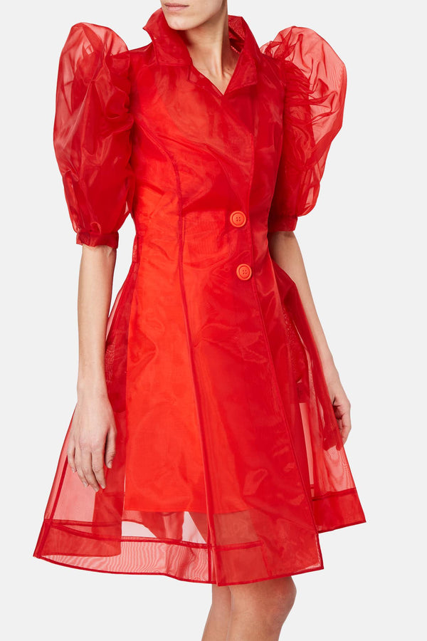 Manteau transparent rouge Xiao Li