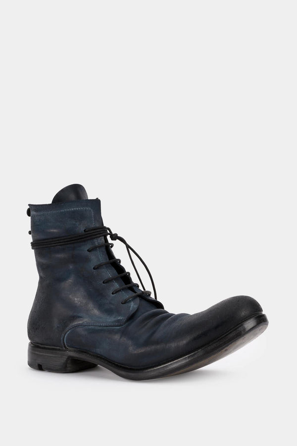 Layer-0 Bottines en cuir cordovan bleu encre