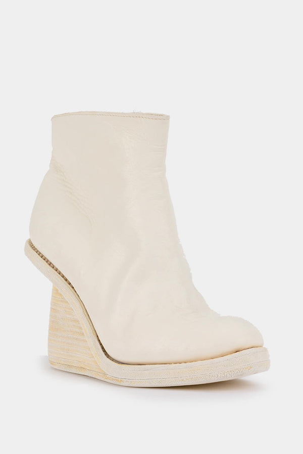 Guidi White leather wedge ankle boots