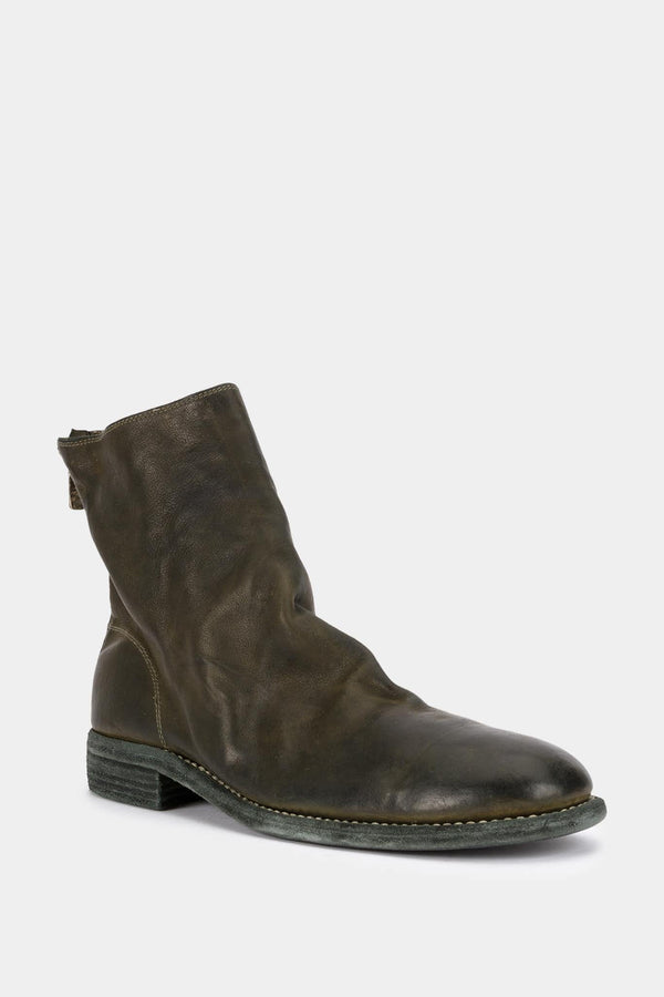 Guidi Bottines zipées en cuir vertes