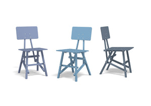 DIT Chair, wooden chair, example image of blue colours. Self assembly, beech and plywood. Design by Tord Boontje.