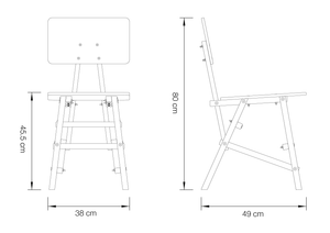 DIT Chair, wooden chair, dimension drawing. Self assembly, beech and plywood. Design by Tord Boontje.