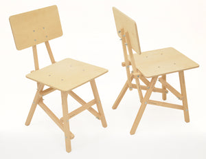 DIT Chair, wooden chair, front and back view. Self assembly, beech and plywood. Design by Tord Boontje.
