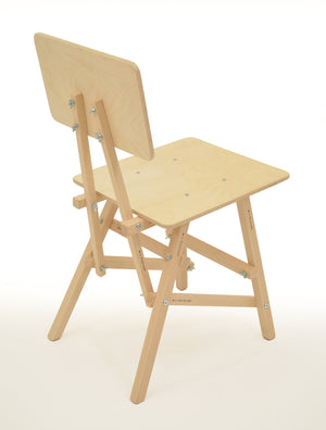 DIT Chair, wooden chair seen from the back. Self assembly, beech and plywood. Design by Tord Boontje.