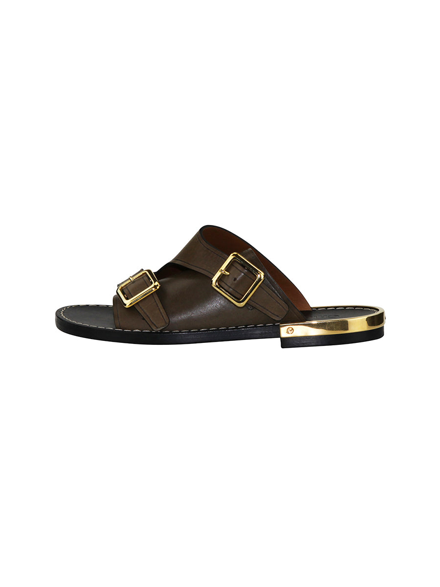 leather slides with gold details