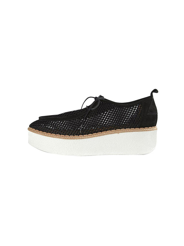 Titus Suede Trimmed Croheted Mesh Platform Loafers