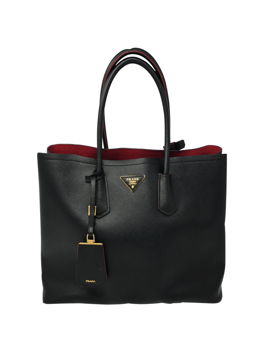 double top handles leather tote