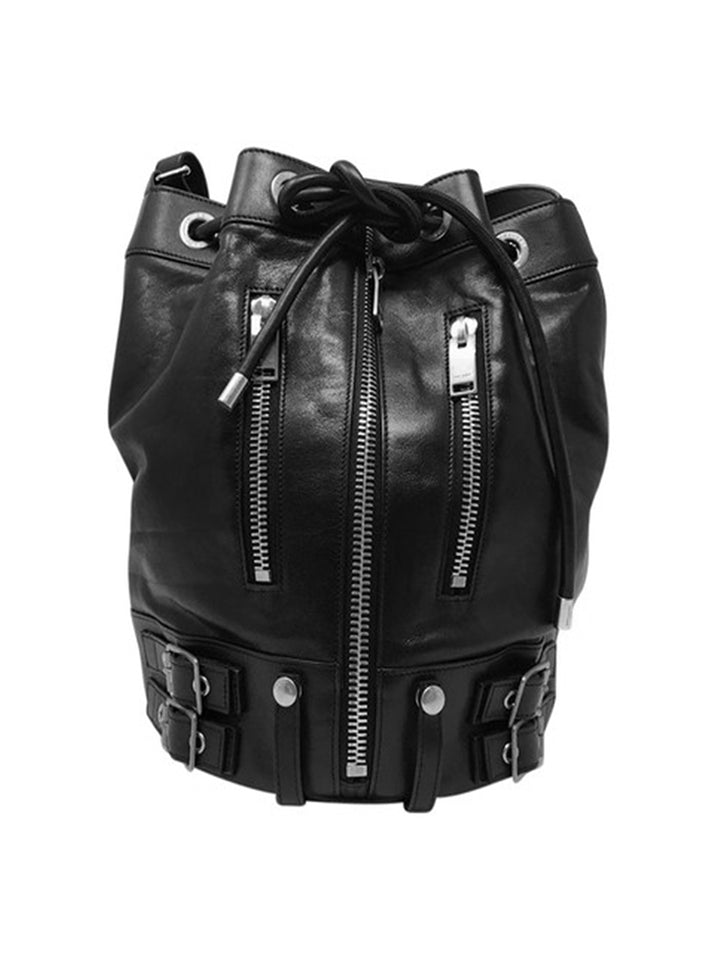 Bucket Bag in Leather with Zipper Details