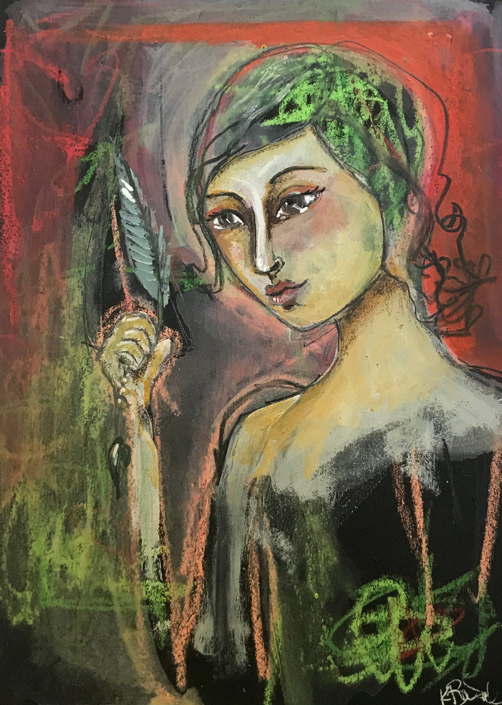 Woman with Feather