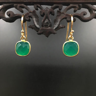 Agate facet - gold plated earrings