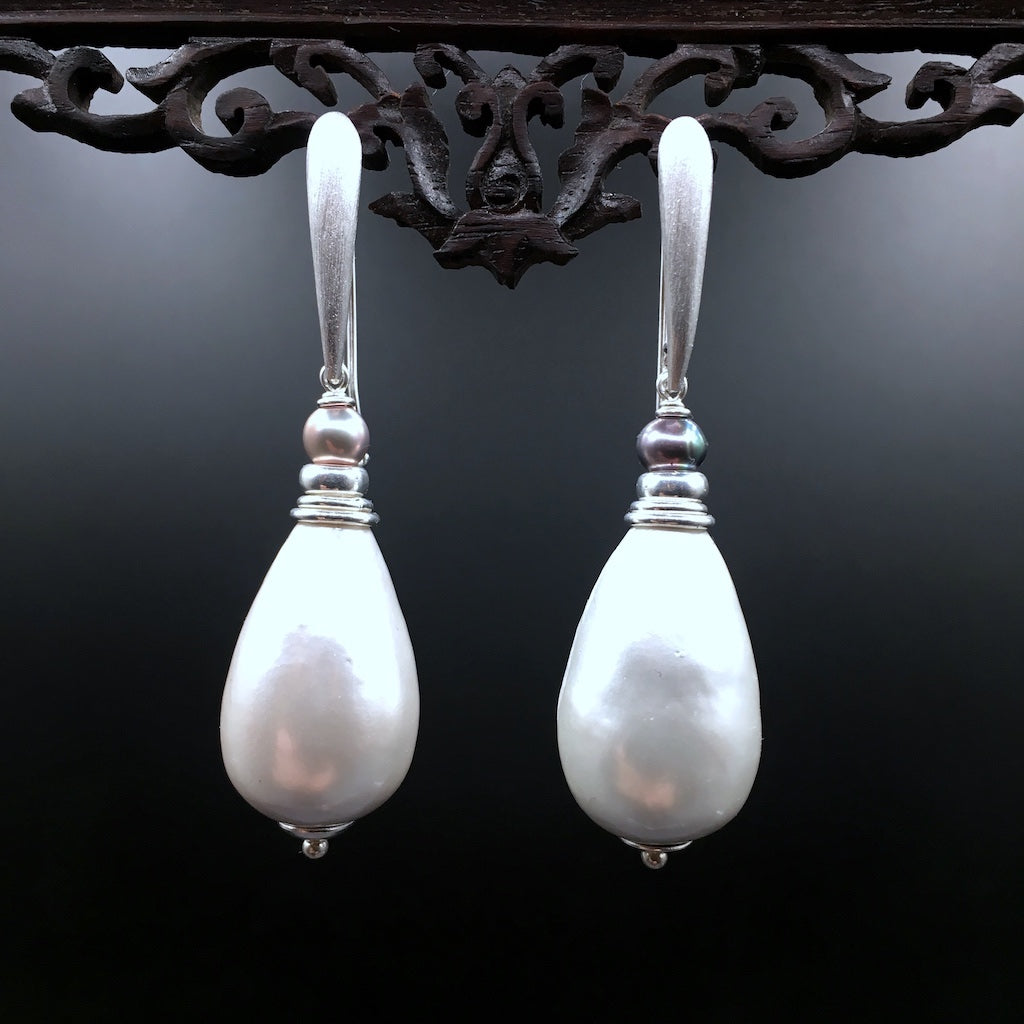 All Silver Paper Pearls - Silber Ohrringe Unikat