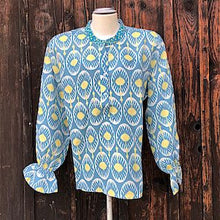 Load image into Gallery viewer, Broom Bluse b - Nimo: Bluse blau gelb, Leinen