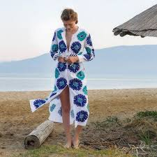 Golden Eye Kaftan - blue 2: Sommerkleid Baumwolle